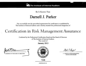 Certificatiion in risk managment assurance